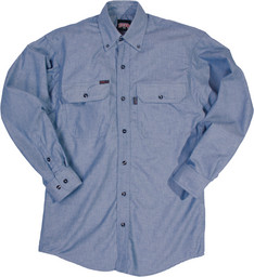 562.45 FR Button-Up Blue Chambray Shirt, Long Sleeve