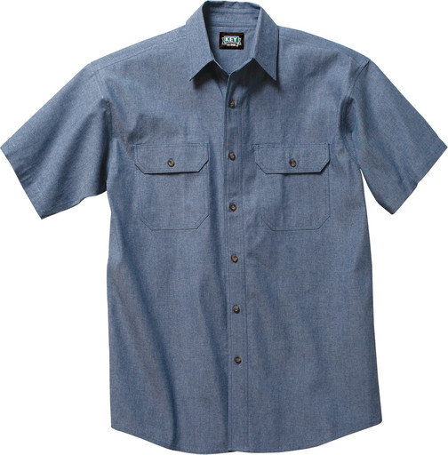 Wrangler Riggs Shirts: Men's 3W531 BL Cotton Chambray Short Sleeve Work Shirt