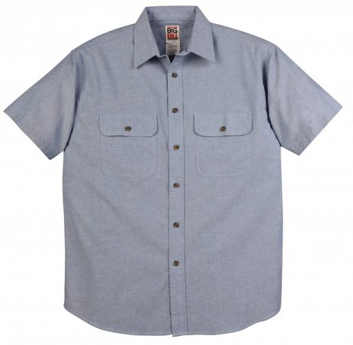 133 Short Sleeve Chambray Shirt with Button Front Closure